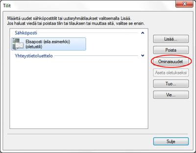 Sähköpostiuudistus - IMAP/POP3-asetusten muuttaminen Windows 7 ja Vista Live Sähköposti